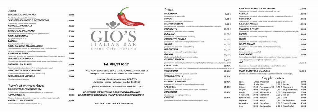 Gio's Italian Bar Menukaart